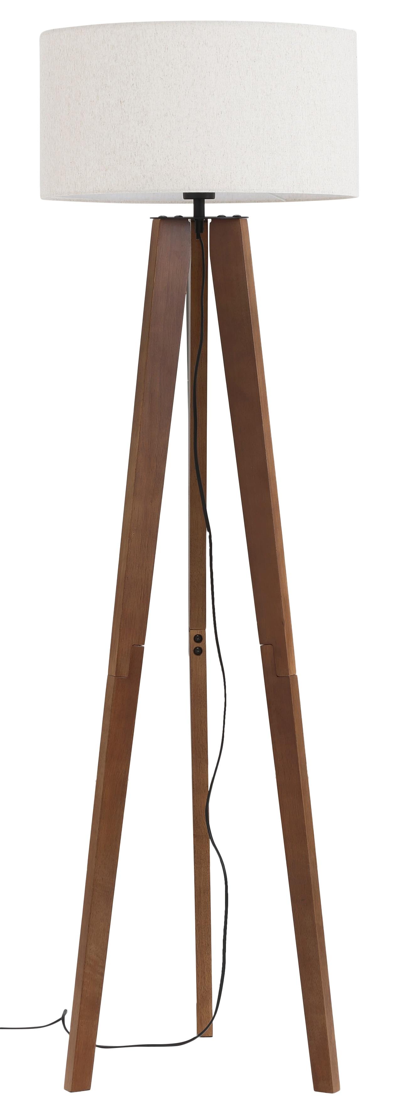 Home affaire Stehlampe Davos, E27, 1 St., Stehleuchte mit massivem Holz Dreibein und Leinenschirm / Stoff - Schirm Ø 45 cm, Höhe 149 cm