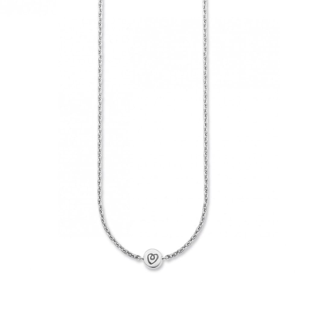 CAÏ Collier »925/- Sterling Silber rhodiniert Herz«, Art der Kette: Panzerkette