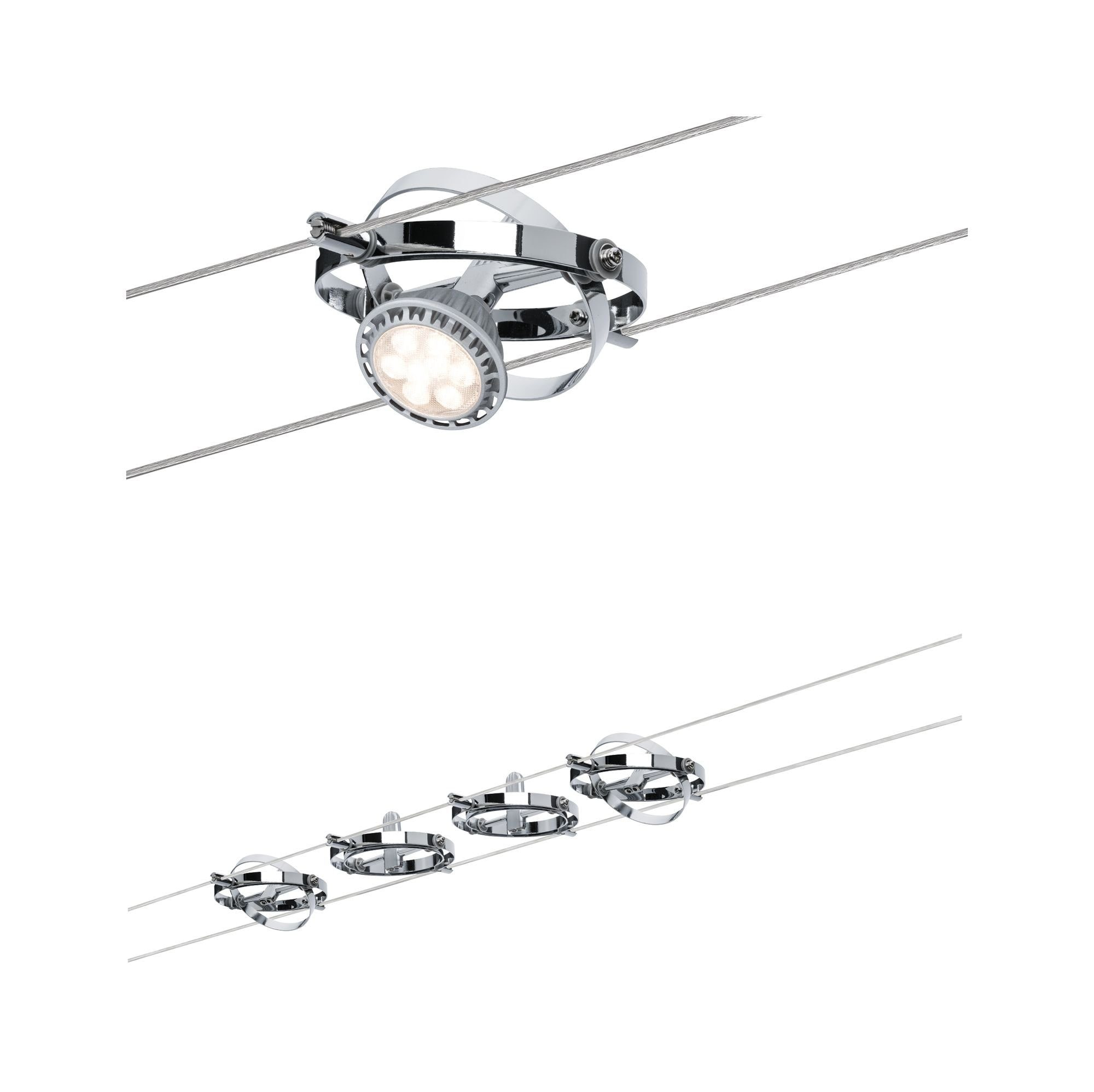 Paulmann,LED Deckenleuchte Seilsystem Cardan Chrom mit 4 Spots max. 10W GU5,3