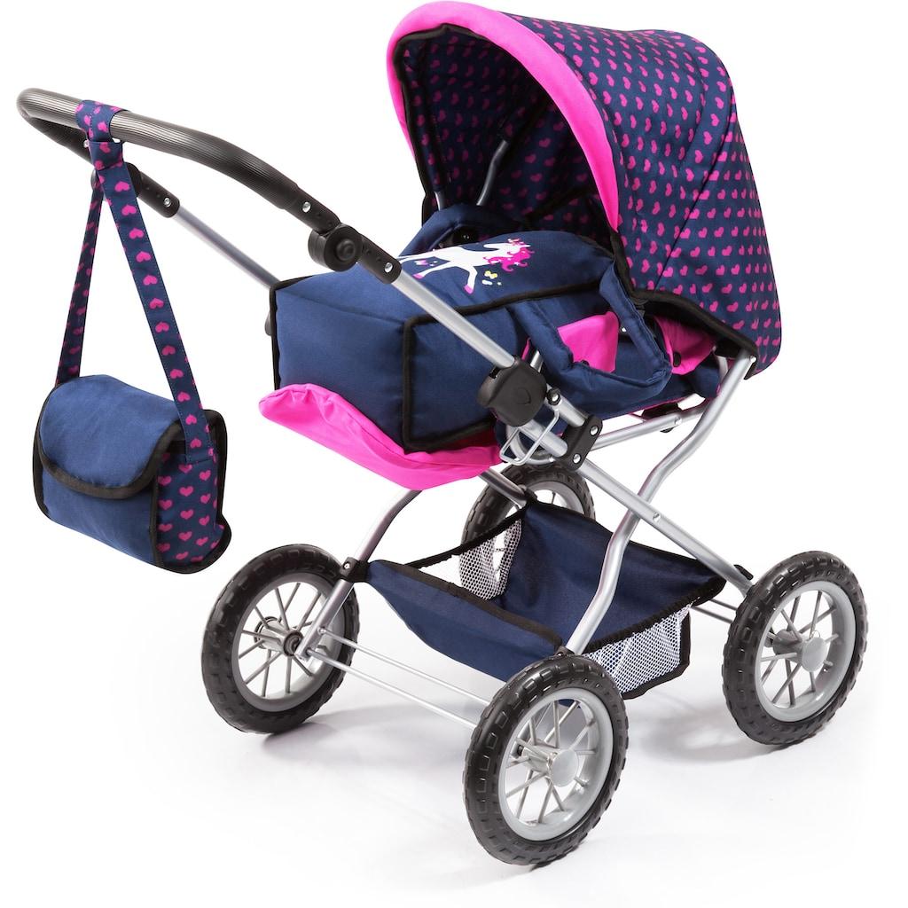 Bayer Kombi-Puppenwagen »Grande, Blau/Pink«, mit Reisebett, Flasche, Tragegurt, Schnuller, Puppengeschirr, Fläschchen und Pflegemittel