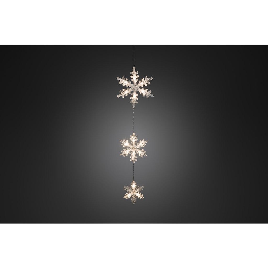 KONSTSMIDE LED Dekoobjekt, Warmweiß, Lichtervorhang, 3 Acryl Schneeflocken