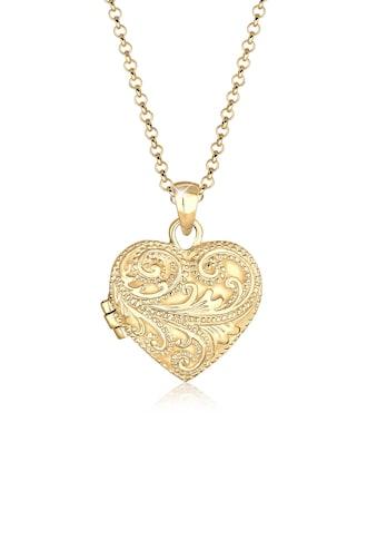 Elli Kette mit Anhänger »Herz Ornament Amulett Medaillon Liebe 925 Silber« kaufen