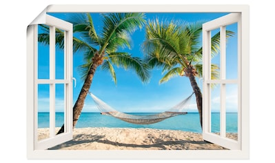 Artland Wandbild »Fensterblick Palmenstrand Karibik«, Amerika, (1 St.), in vielen... kaufen