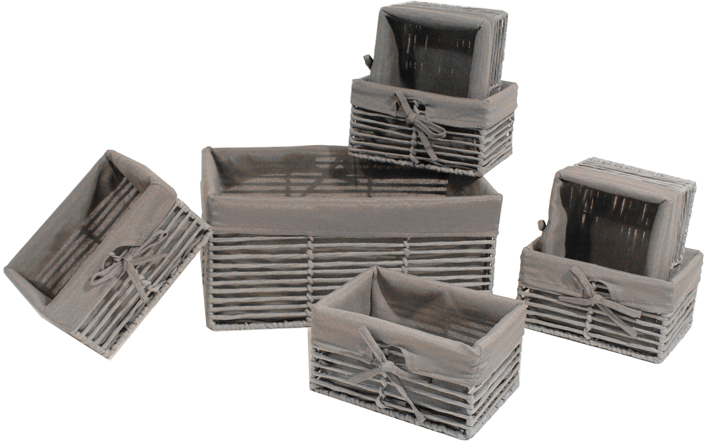 Franz Müller Flechtwaren Aufbewahrungsbox, (Set, 7 St.) grau Kleideraufbewahrung Aufbewahrung Ordnung Wohnaccessoires Aufbewahrungsbox