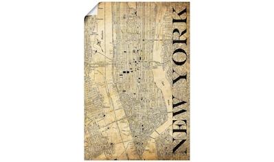 Artland Wandbild »New York Karte Straßen Karte Sepia«, Amerika, (1 St.), in vielen Größen & Produktarten - Alubild / Outdoorbild für den Außenbereich, Leinwandbild, Poster, Wandaufkleber / Wandtattoo auch für Badezimmer geeignet kaufen