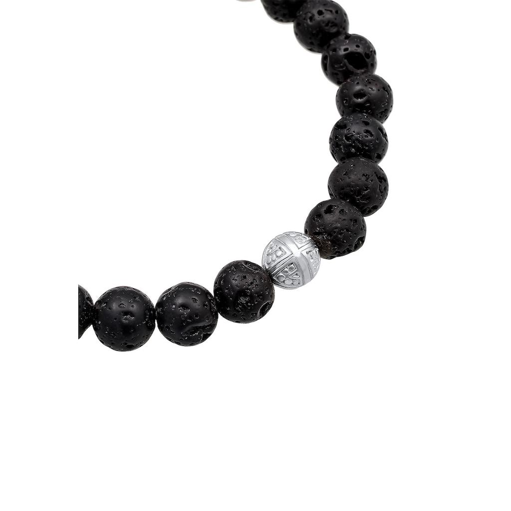 Kuzzoi Armband »Basic Lavastein Kreuz Ethno 925 Sterling Silber«
