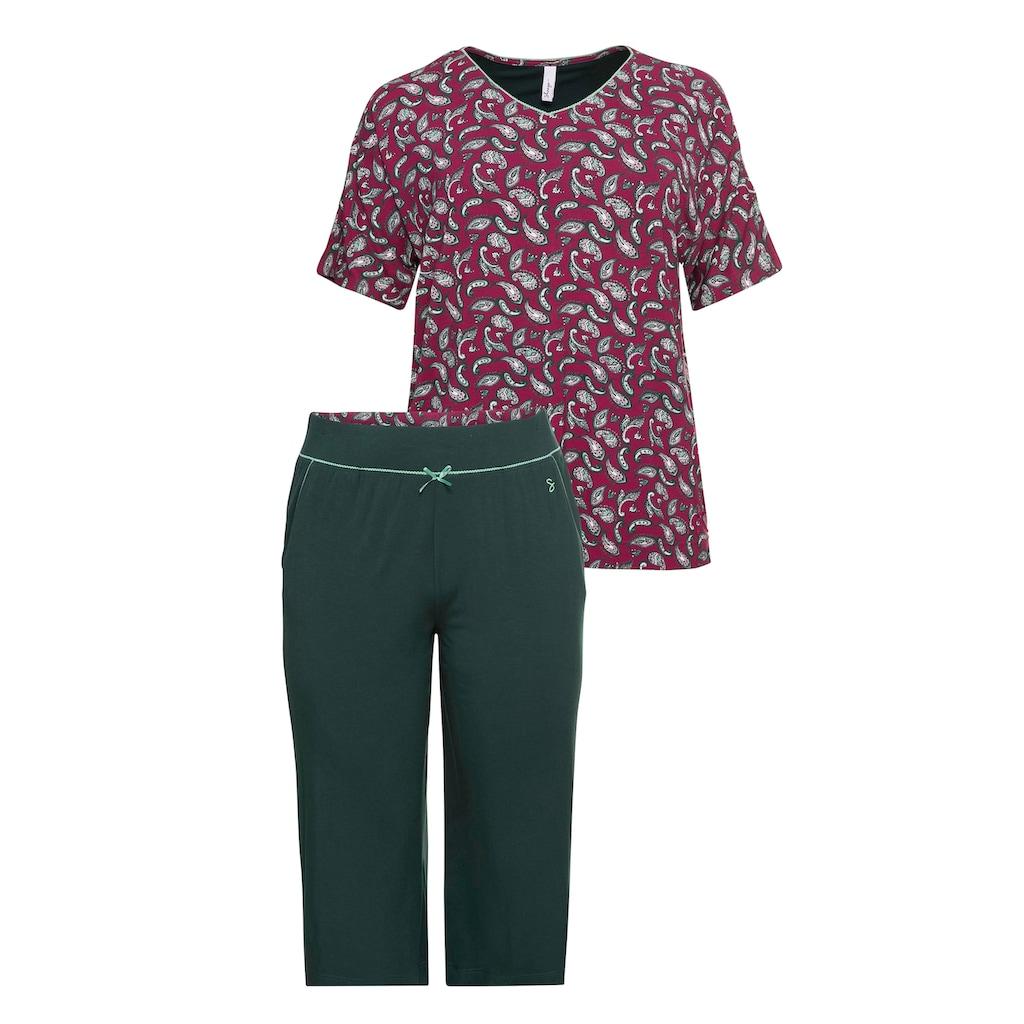 Sheego Pyjama, aus Paisley-Shirt und 3/4-Hose