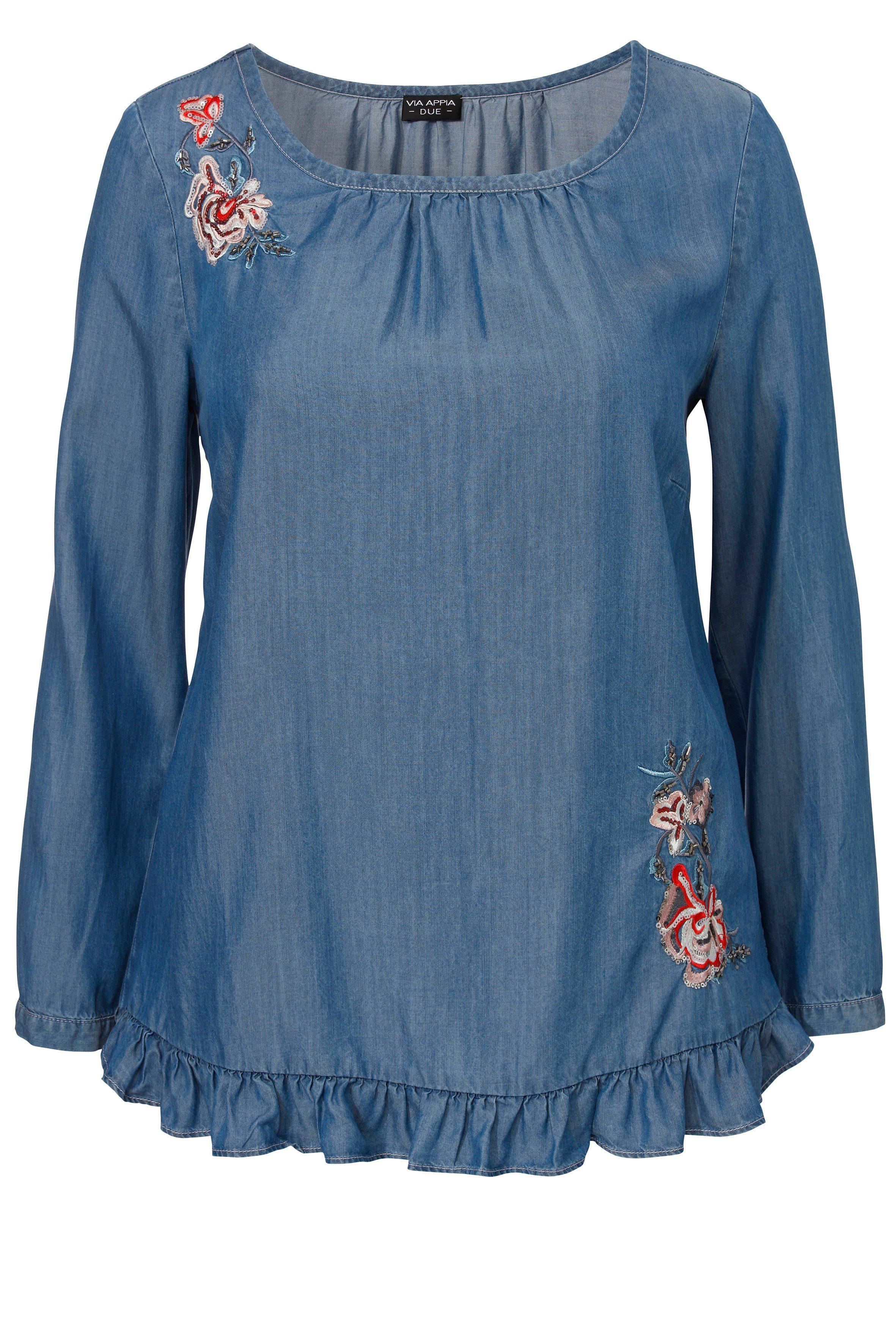 VIA APPIA DUE Bestickte Bluse mit Rüschenbordüre