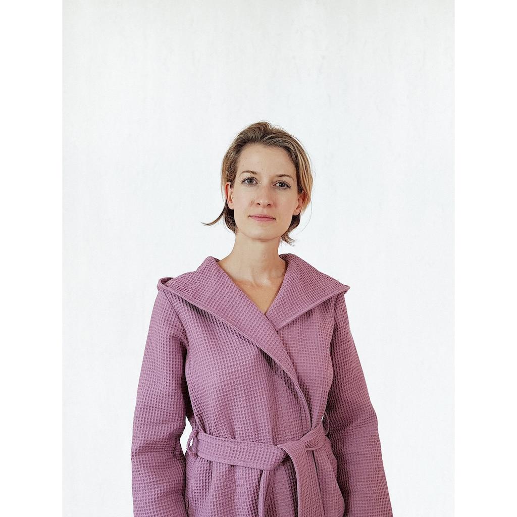 freundin Home Collection Damenbademantel »Waffelpiqué«, mit Kapuze