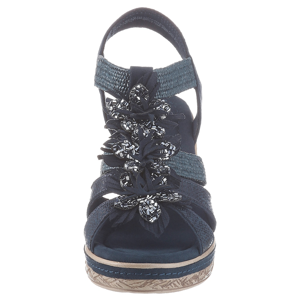 MARCO TOZZI Sandalette, mit glitzernden Blüten