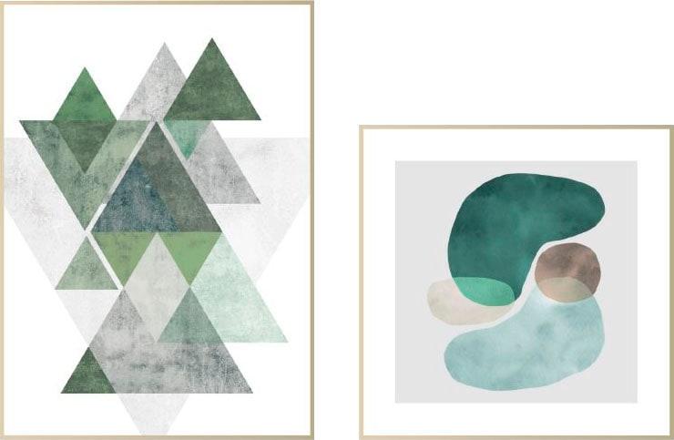 Wandbild Abstrakt Blau & grün - Wandbilder Set (Set) | Dekoration > Bilder und Rahmen