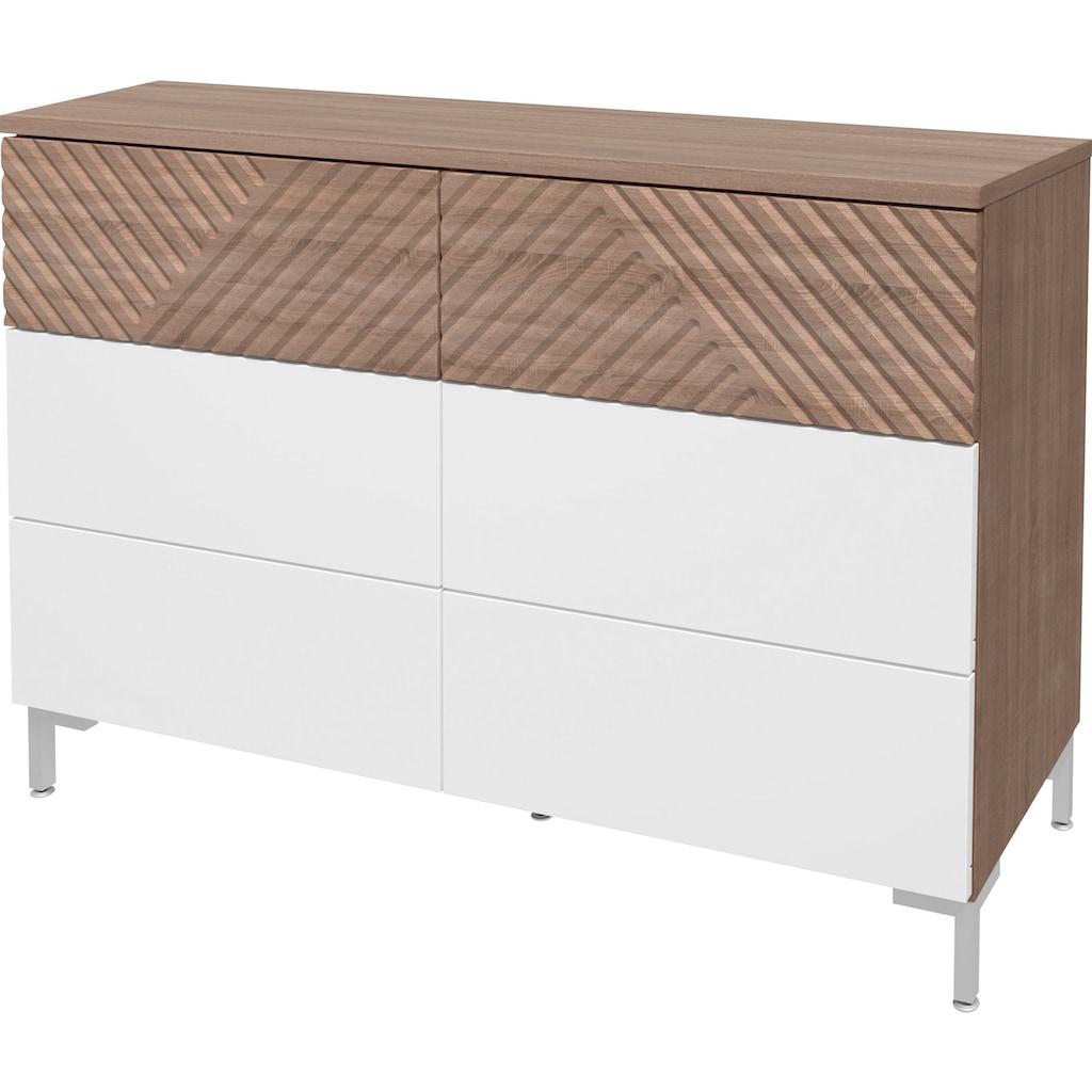 """INOSIGN Kommode »Greta«, Kommode """"Greta"""" mit dekorativen Fräsungen, Push-to-open-Funktion, Breite 118,5 cm"""
