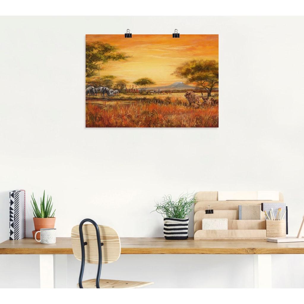 Artland Wandbild »Afrikanische Steppe mit Löwen«, Afrika, (1 St.)