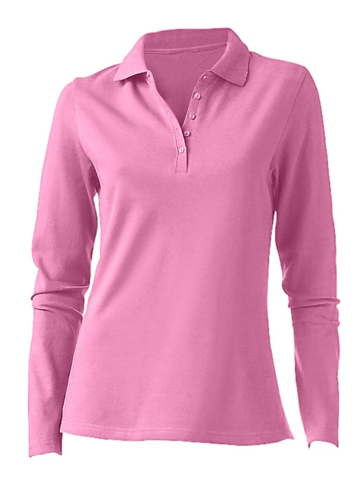 heine CASUAL Poloshirt Langarm | Bekleidung > Shirts > Poloshirts | Pink | heine