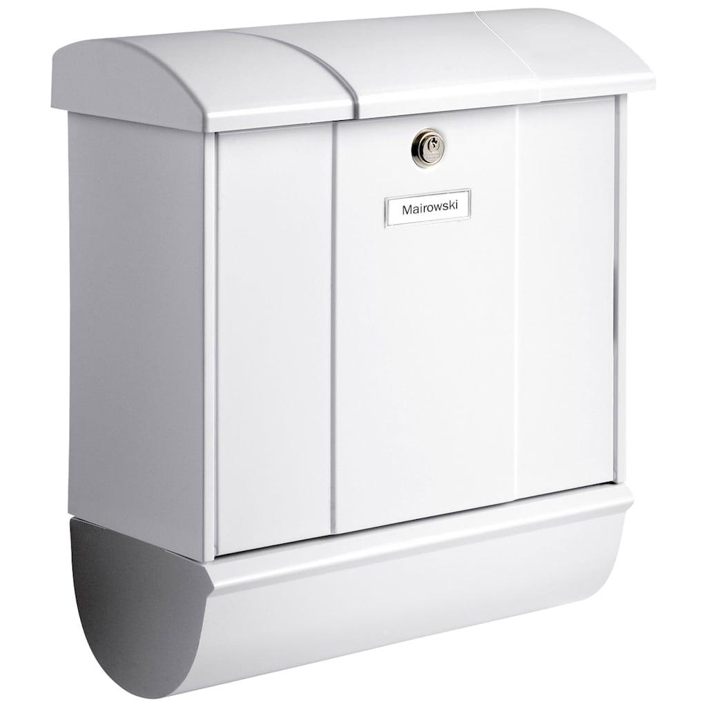 Burg Wächter Briefkasten »Olymp 91600 W«, mit Öffnungsstopp und separatem Zeitungsfach, aus Stahlblech