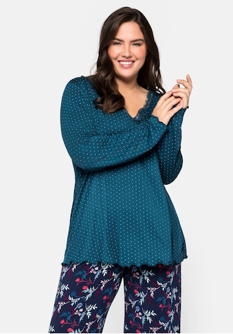 Sheego Pyjamaoberteil, mit Spitzenbesatz und Babylocksaum kaufen