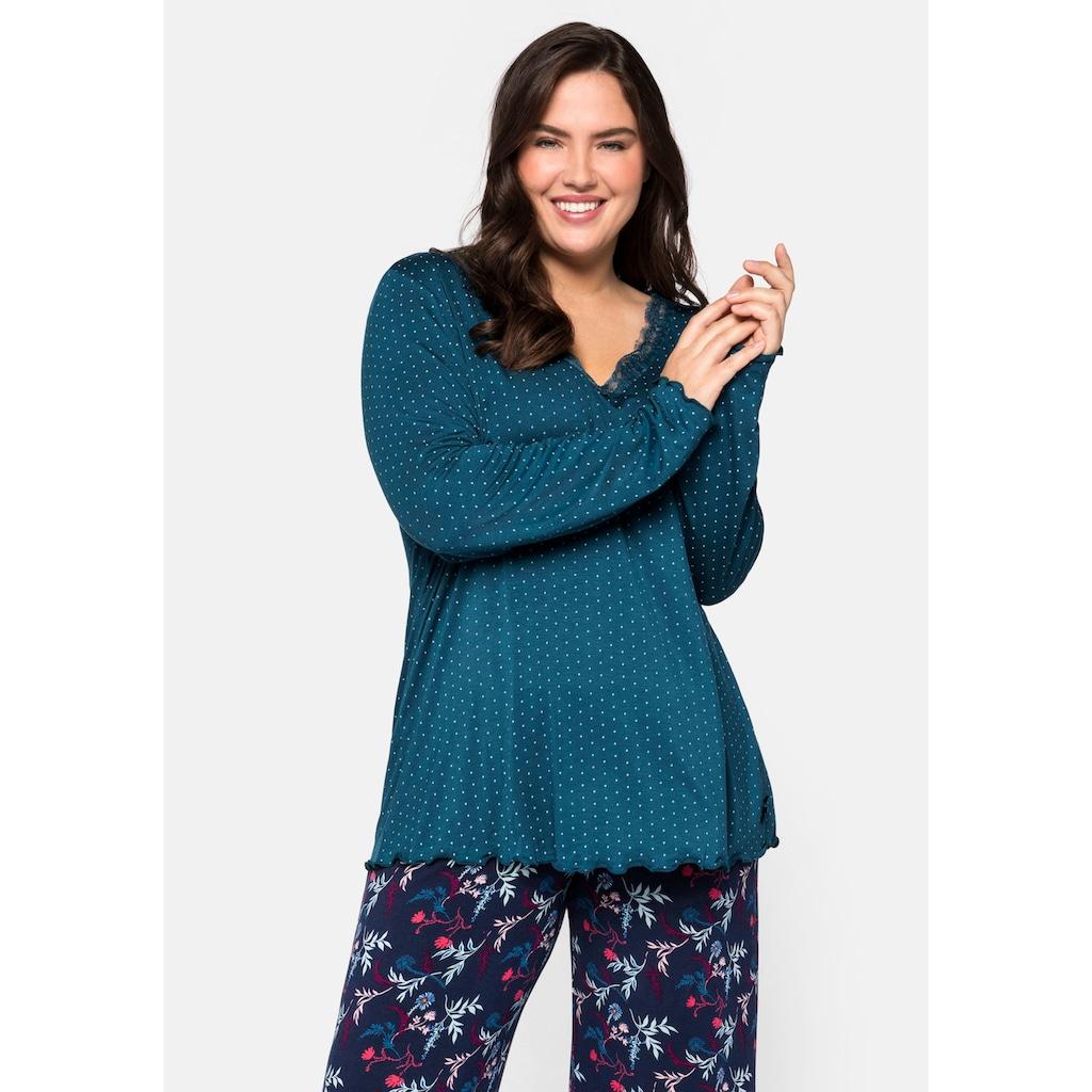 Sheego Pyjamaoberteil, mit Spitzenbesatz und Babylocksaum