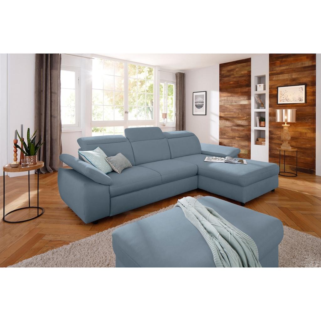 Home affaire Ecksofa »Mauritius«, mit Kopfteil- und Armlehnverstellung, wahlweise mit Bettfunktion und Bettkasten, auch Soft Clean-Bezug