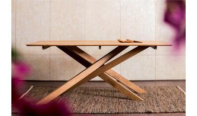 Home affaire Esstisch »Fox«, aus massivem Mangoholz, mit kreativ gestalteten Holzbeinen, Breite 180 cm kaufen