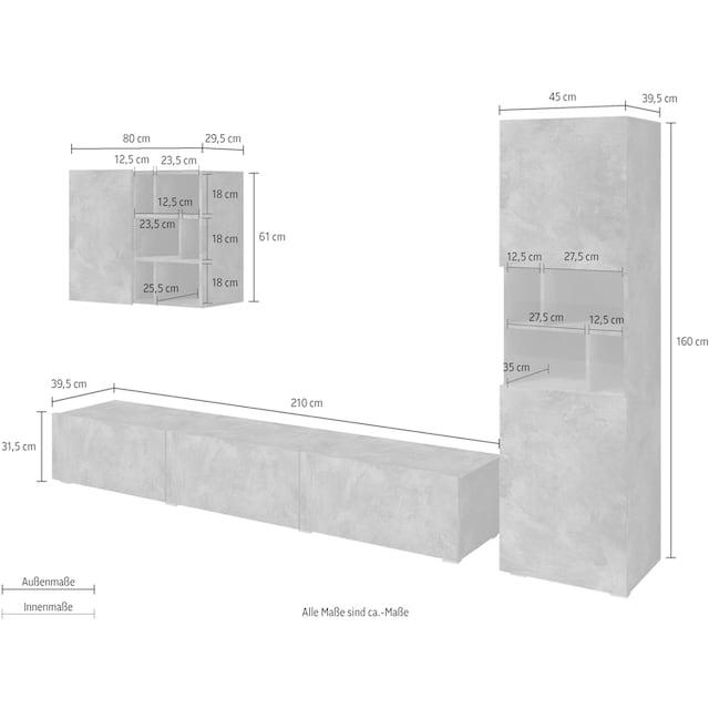 TRENDMANUFAKTUR Wohnwand »Aksel« (Set, 3-tlg)