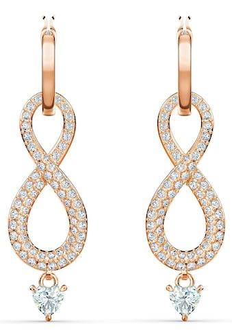 Swarovski Paar Creolen »Unendlichkeitsschleife, Infinity, weiss, Rosé vergoldet, 5512625« kaufen