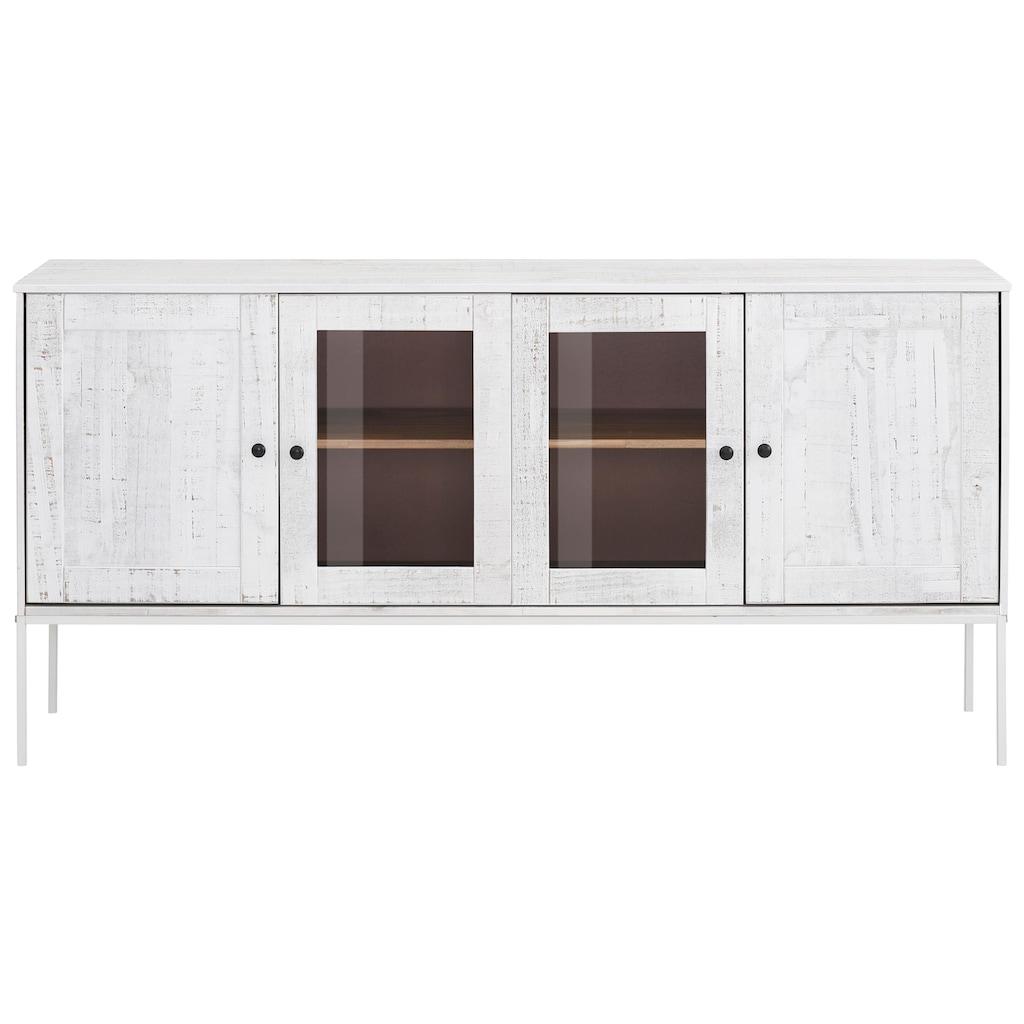Home affaire Sideboard »Freya«, mit 2 Holztüren und 2 Glastüren, Metallgriffen, aus Massivholz, Breite 165 cm