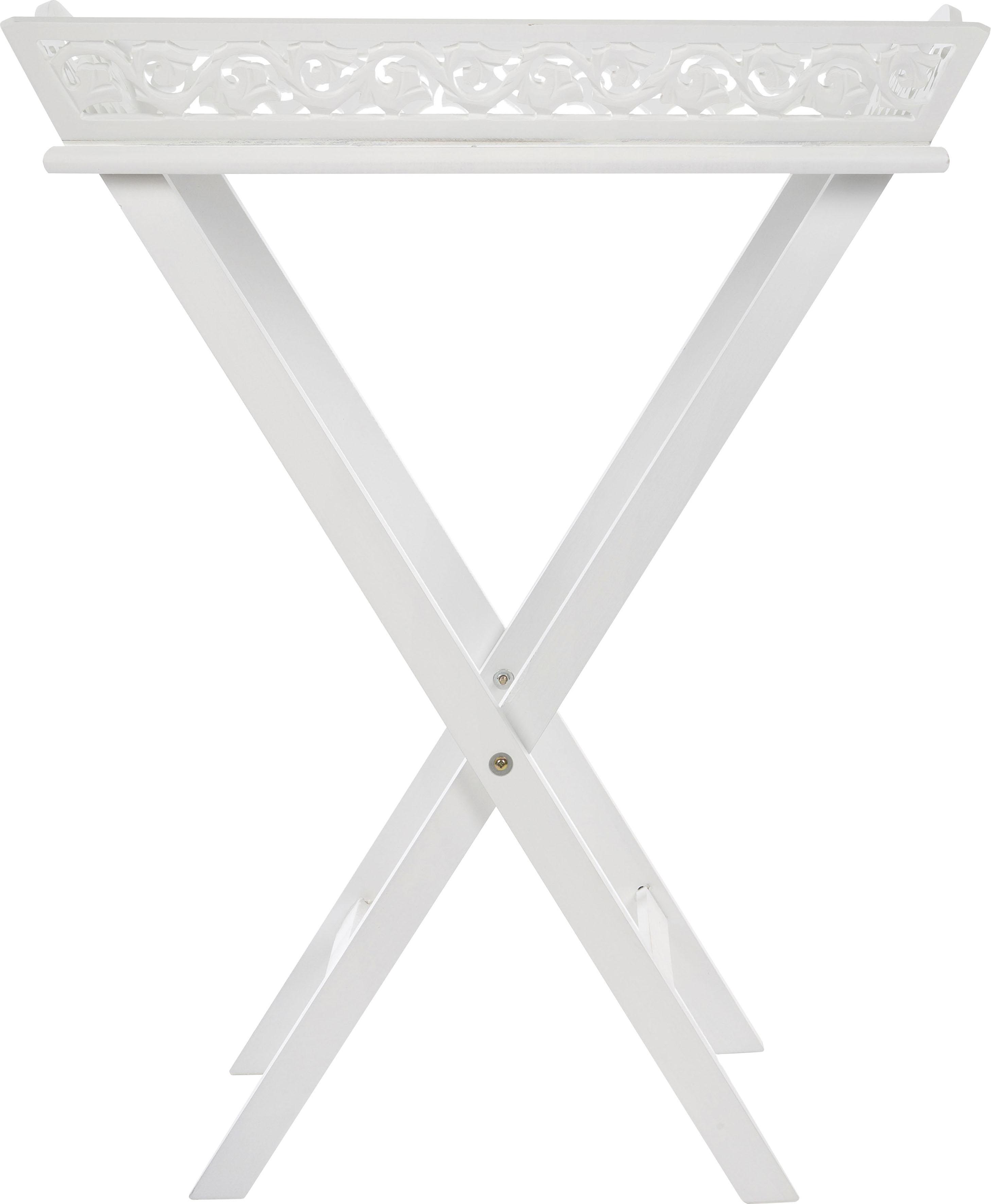 Beistelltisch Romantick, Serviertablett inkl. Gestell im Landhausstil gehalten weiß Beistelltische Tische