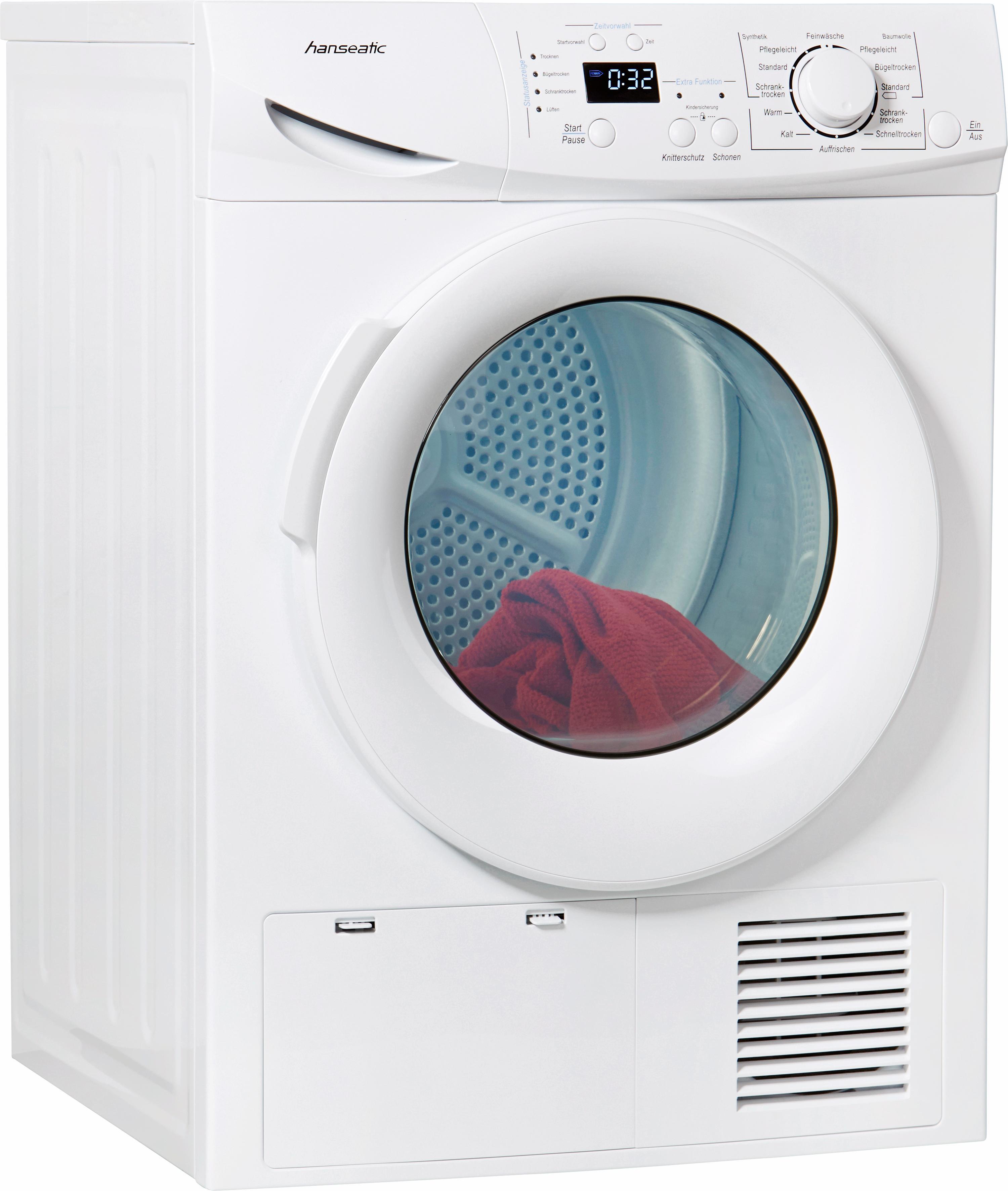 Hanseatic Kondenstrockner HKT 8BGT 8 kg   Bad > Waschmaschinen und Trockner > Kondenstrockner   Weiß   Hanseatic
