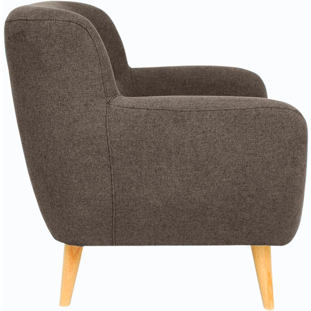 Home affaire Sessel »Noris«, mit Zierknopfheftung im Rücken, skandinavischer Stil, Holzfüße
