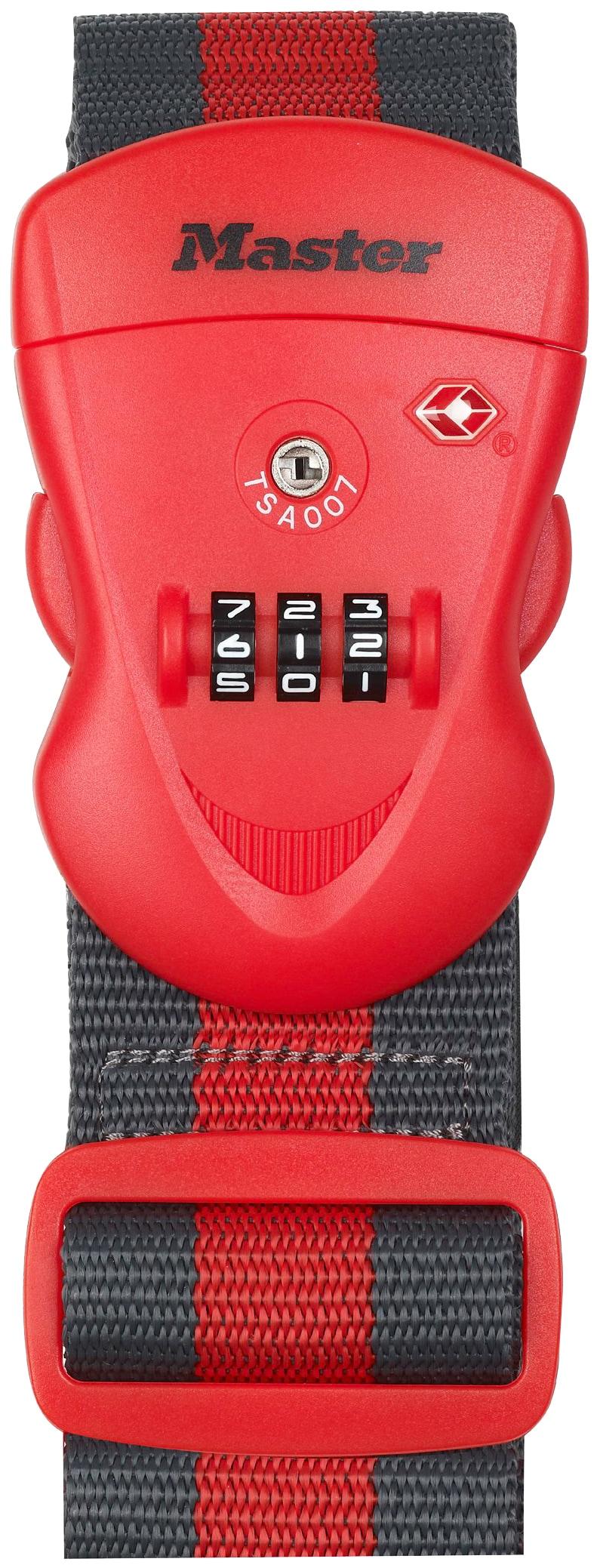 Master Lock Koffergurt, mit Zahlenschloss, 2 m rot Koffergurt