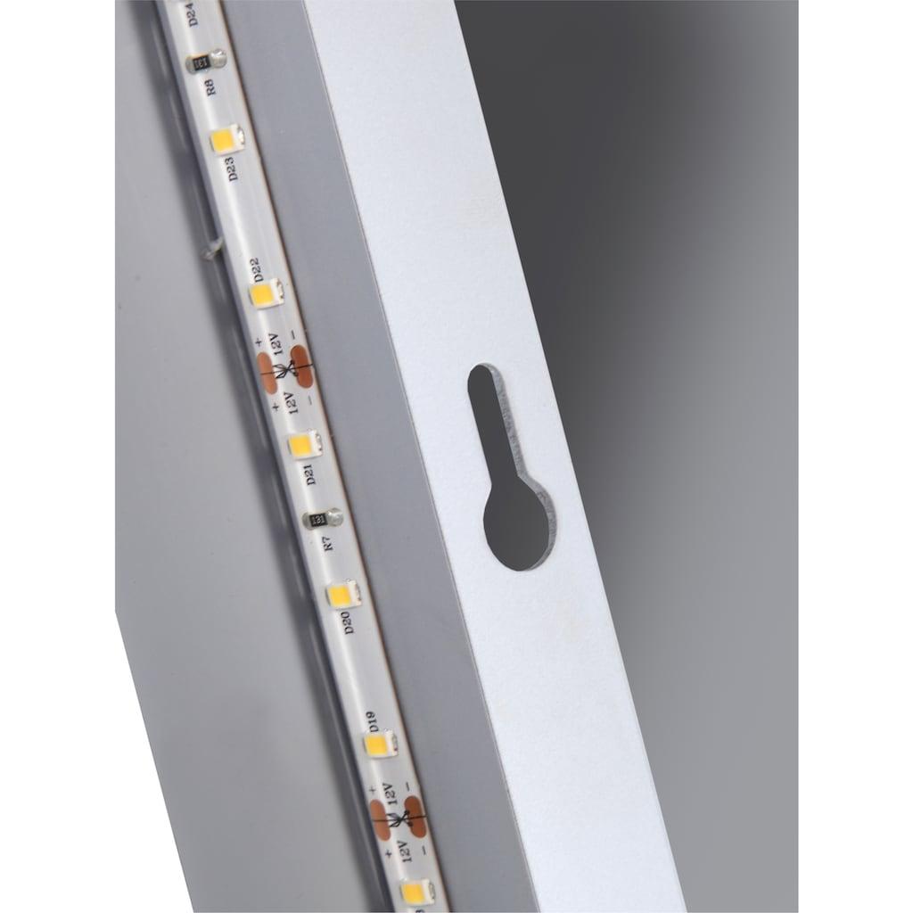 welltime LED-Lichtspiegel »Flex«, 100 x 70 cm, LED-Beleuchtung, Uhr, Vergrößerungsspiegel