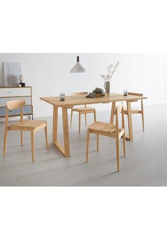 OTTO products Esstisch »Lennard«, aus massiver geölter Wildeiche, mit veganem und zertifizierten Bio-Öl behandelt, rechteckige Tischplatte, mit Holzkufengestell kaufen