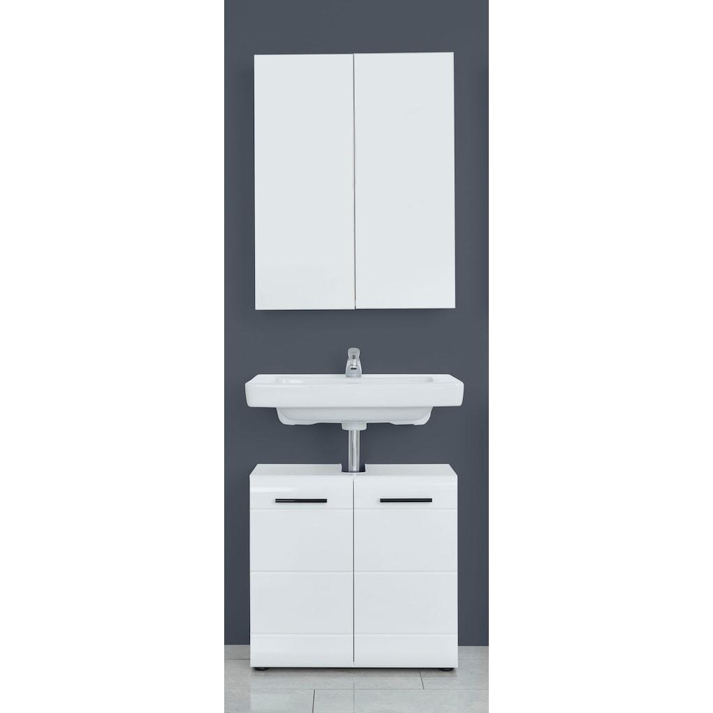 trendteam Badmöbel-Set »Skin«, (Set, 2 St.), Spiegelschrank und Waschbeckenunterschrank, mit Fronten in Hochglanz- oder Holzoptik