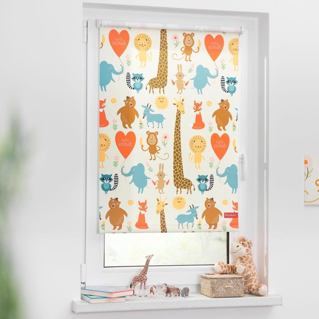 LICHTBLICK Seitenzugrollo »Klemmfix Digital Cute Animals«, verdunkelnd, energiesparend, ohne Bohren, freihängend, bedruckt
