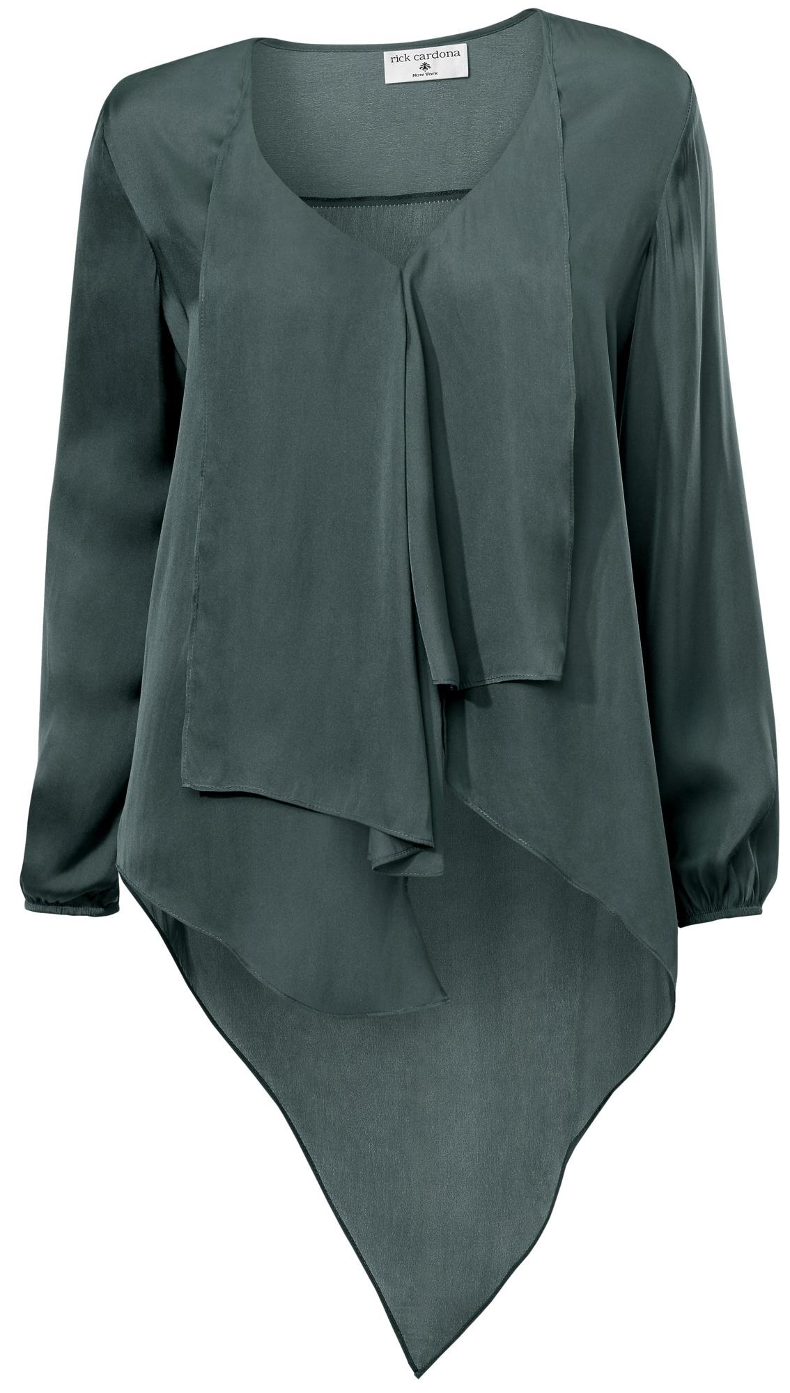 ef6e22815a798 Bildquelle: heine STYLE kragenlose Bluse mit verlängertem Rückteil
