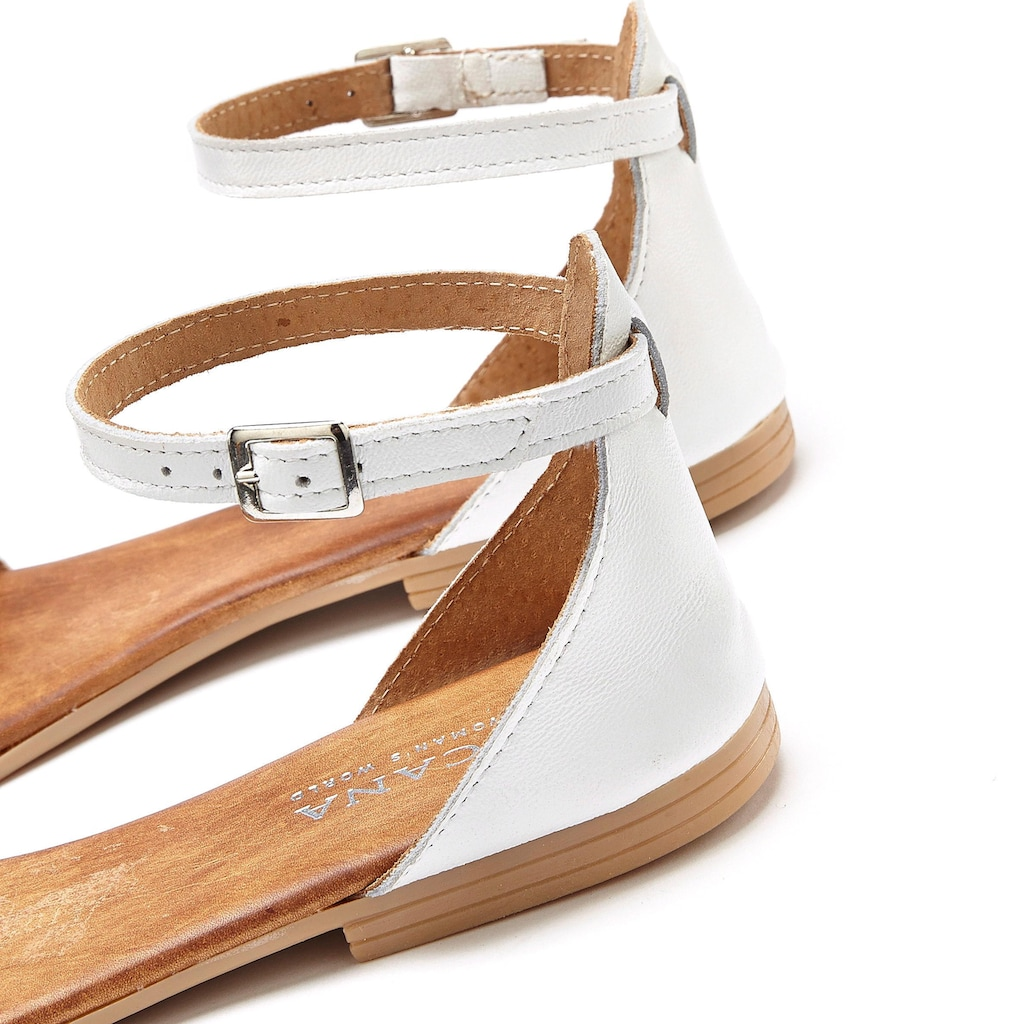 LASCANA Sandale, aus Leder mit Glitzer-Riemchen
