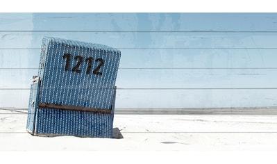 queence Holzbild »Blauer Strandkorb in Blauem Himmel«, 40x80 cm kaufen