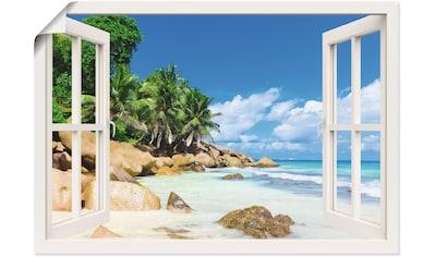 Artland Wandbild »Küste mit Palmen durchs Fenster«, Karibikbilder, (1 St.), in vielen... kaufen