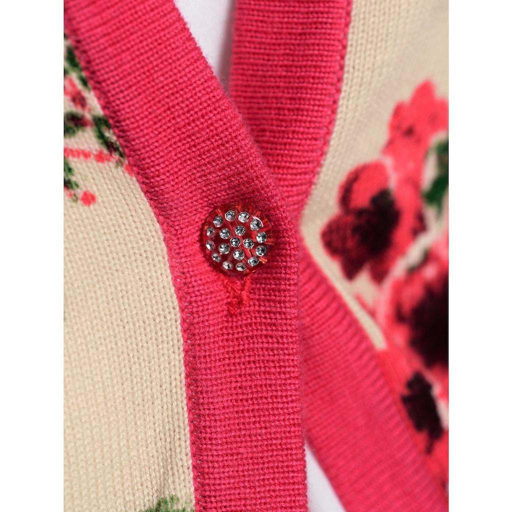 Alba Moda Strickjacke im allover Blumendruck