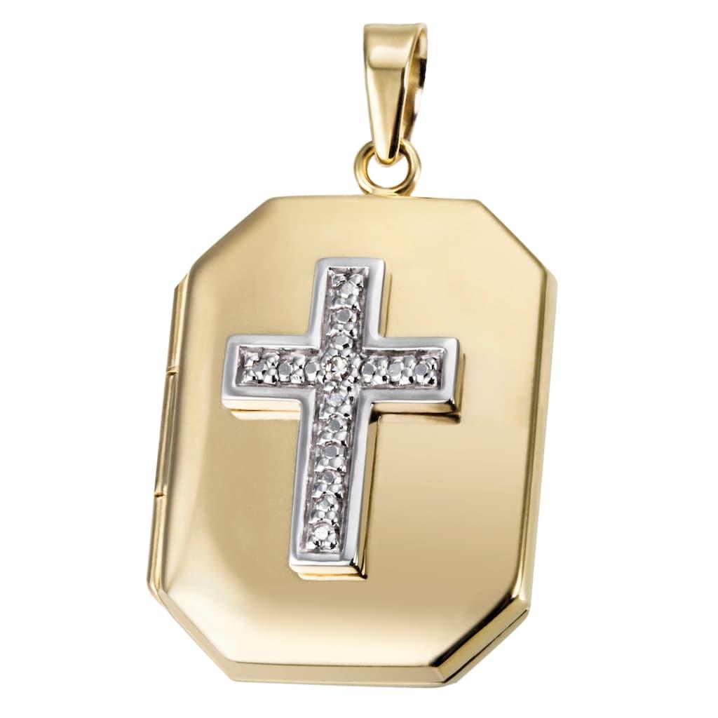 Firetti Medallionanhänger »Kreuz, Glaube, bicolor«, mit Diamant