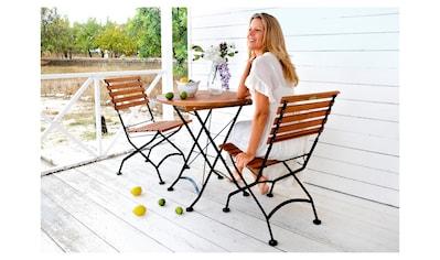 MERXX Gartenmöbelset »Schlossgarten«, 3 - tlg., 2 Stühle, Tisch Ø 70 cm, Stahl/Eukalyptus, natur kaufen