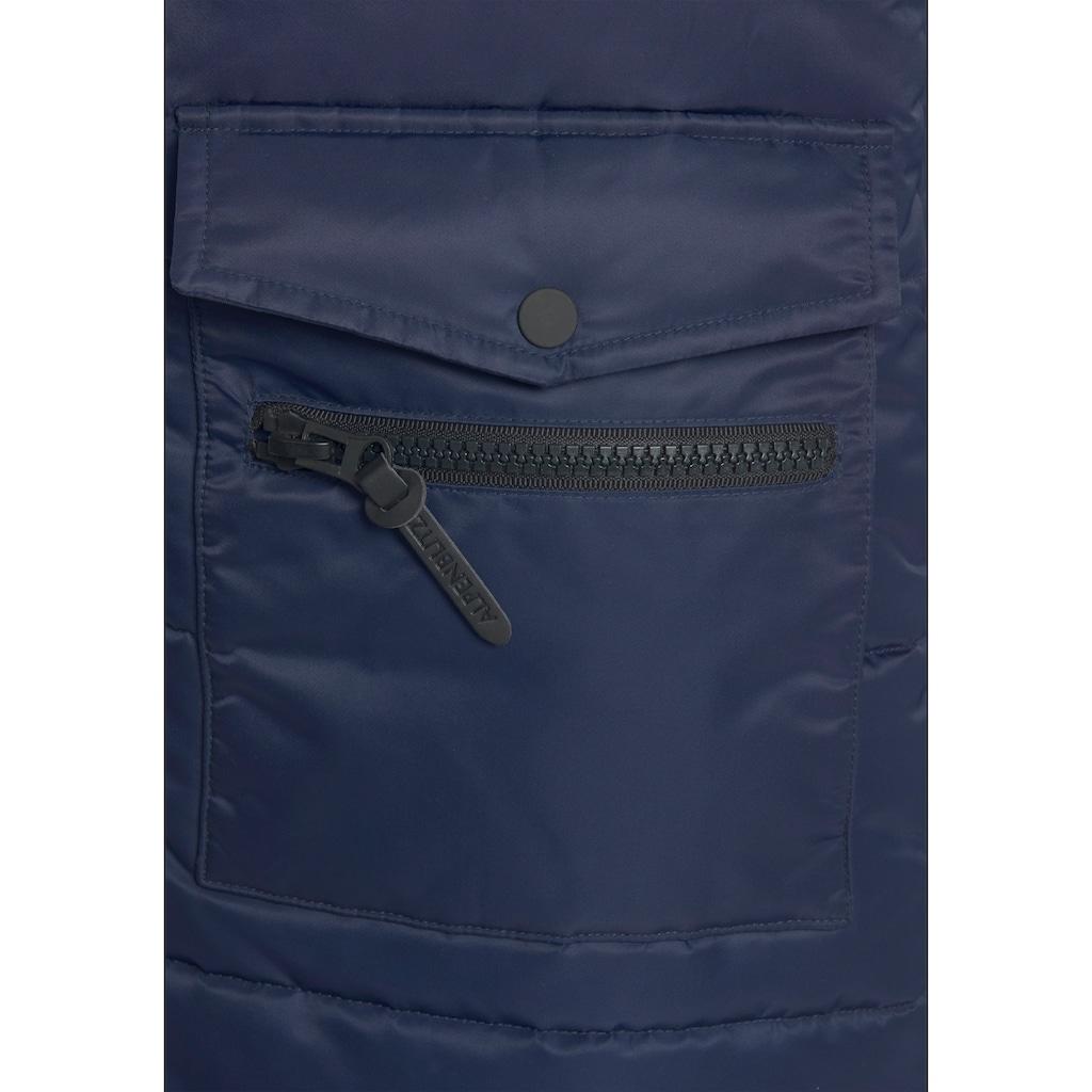 ALPENBLITZ Winterjacke »Jakarta long«, Lange Steppjacke mit abnehmbarer Kapuze und großen, aufgesetzten Taschen