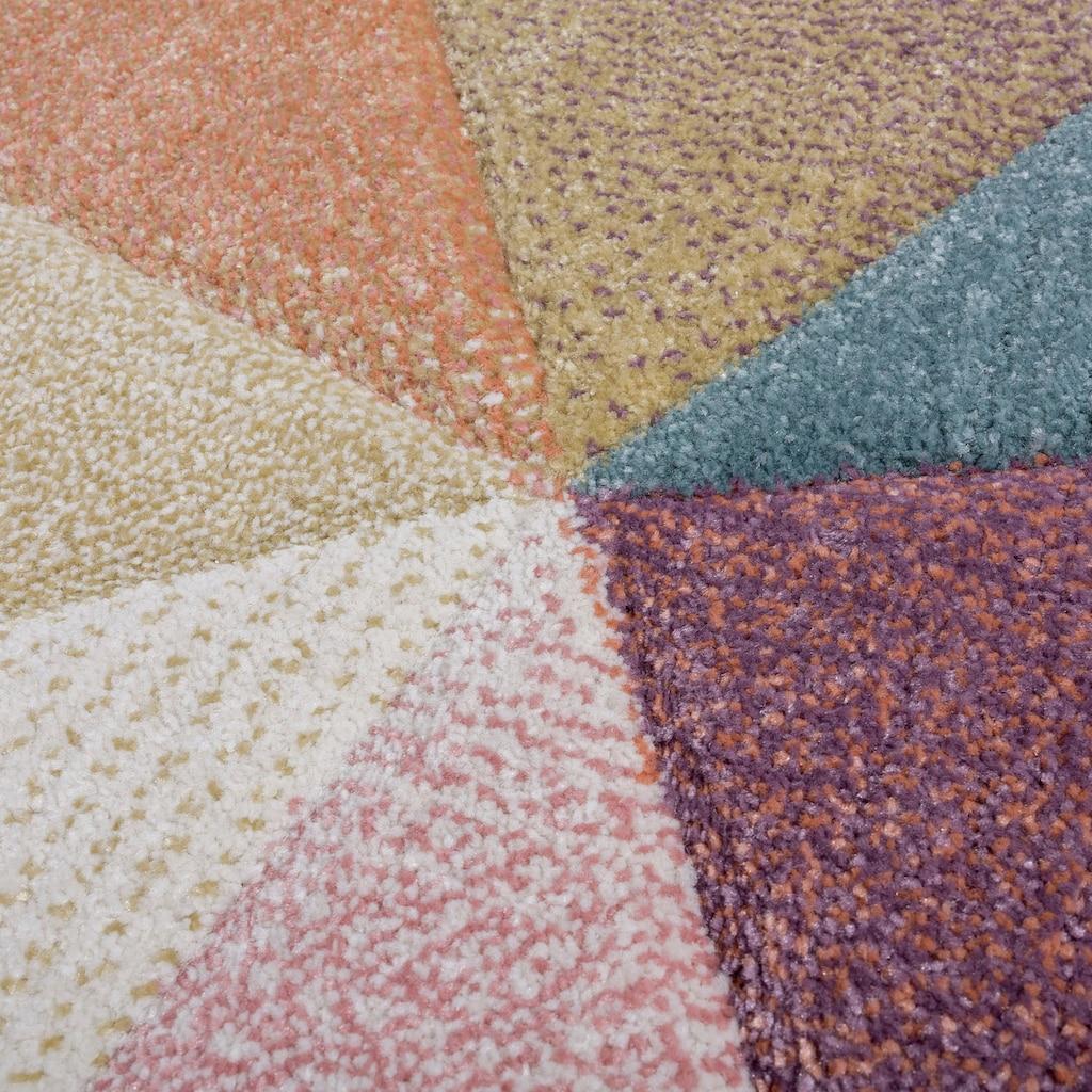 Paco Home Teppich »Kosy 310«, rechteckig, 16 mm Höhe, Kurzflor in schönen Pastell-Farben, geometrisches Design, Wohnzimmer