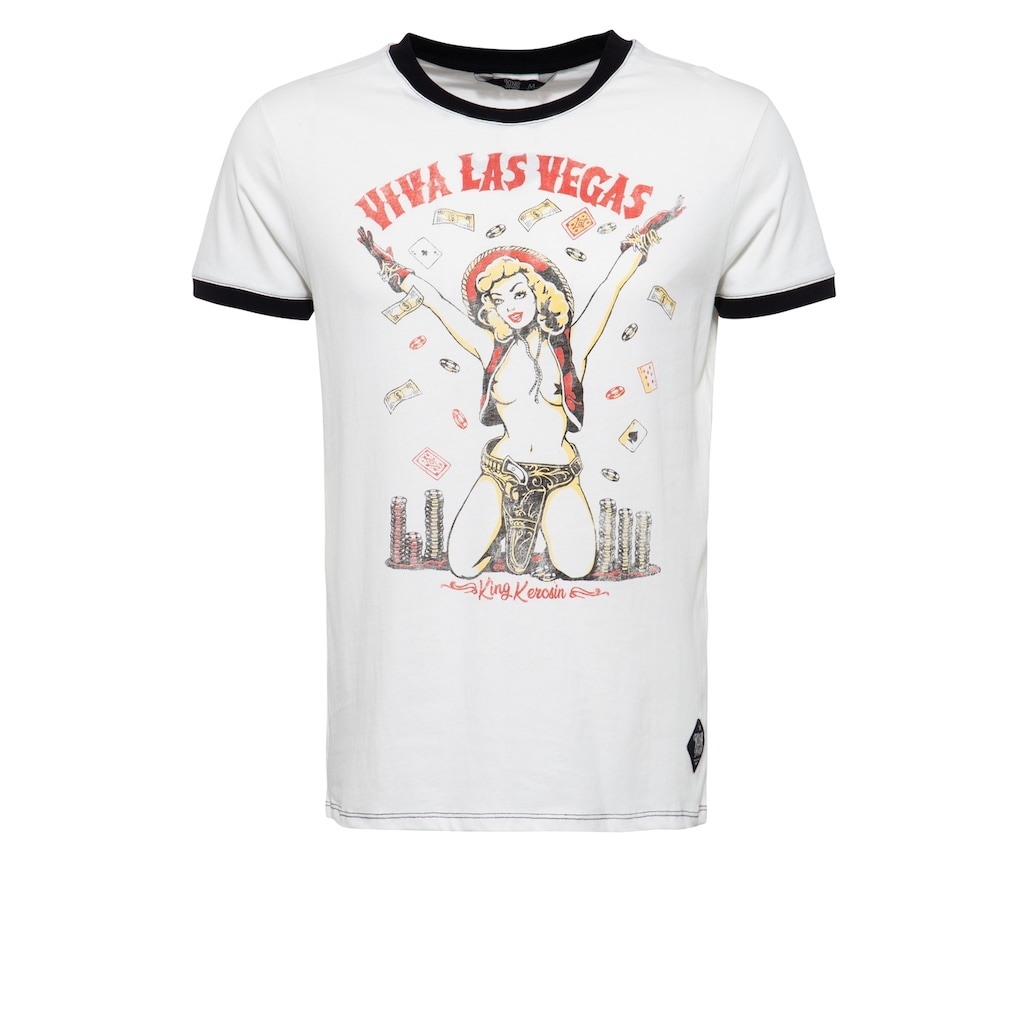 KingKerosin T-Shirt »Viva Las Vegas«, mit Pin Up Print im Vintage Look