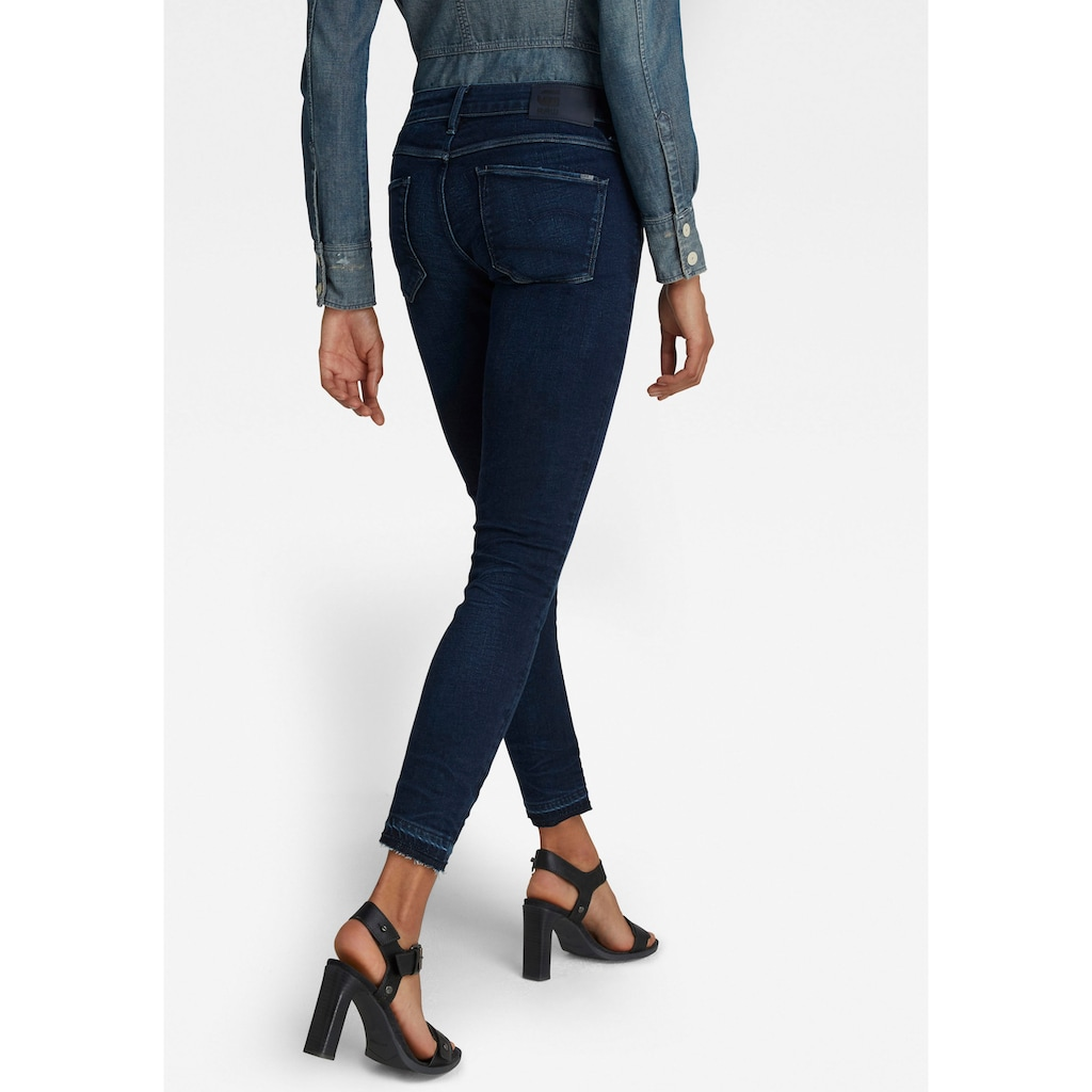 G-Star RAW Ankle-Jeans »3301 Mid Skinny Ankle Jeans«, Saumabschluss mit leicht ausgefranster Kante