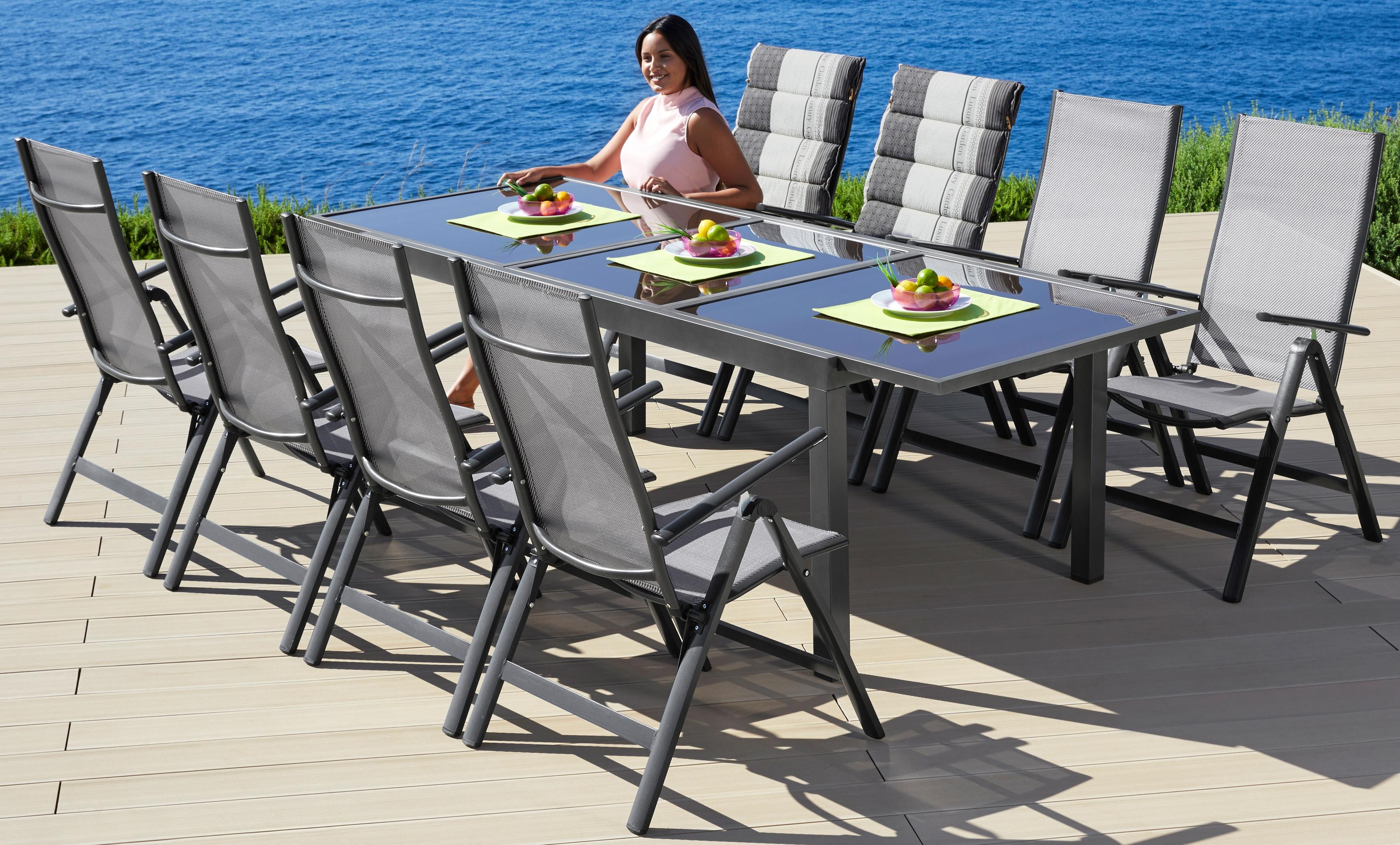 MERXX Gartenmöbelset Amalfi 9-tlg 8 Klappsessel Tisch 100x180-240 cm Alu/Textil