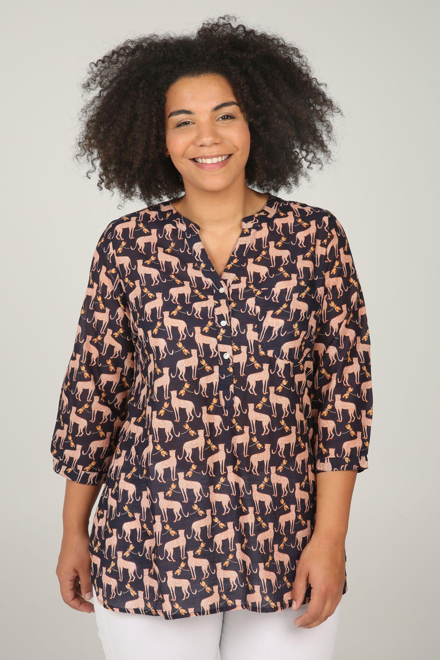 Paprika Druckbluse Bluse mit Tier-Print