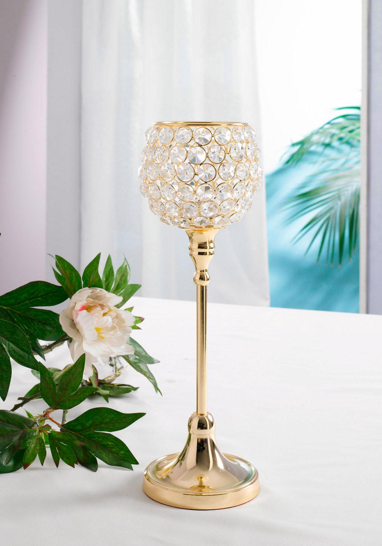 Home affaire Kerzenständer Kristall goldfarben Kerzenhalter Kerzen Laternen Wohnaccessoires