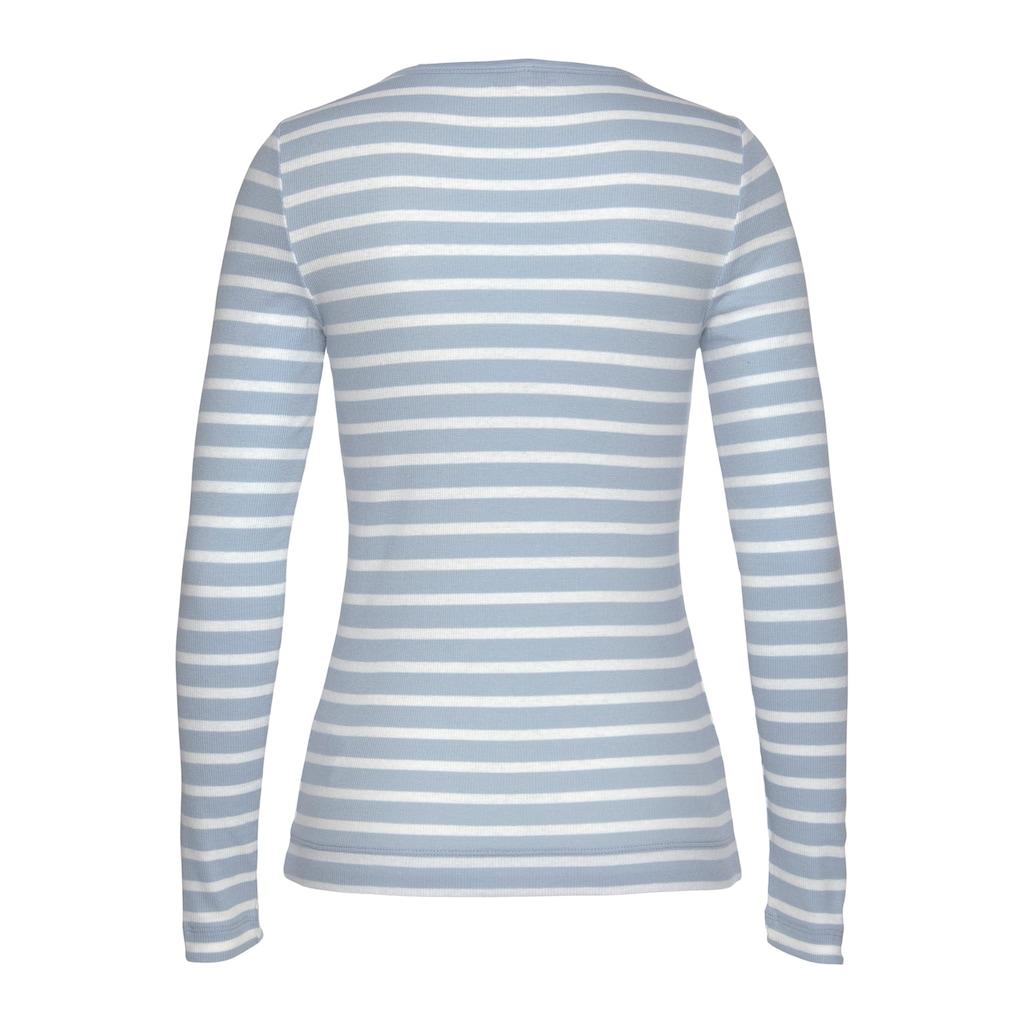 Tommy Hilfiger Langarmshirt »TH ESS SKINNY OPEN-NK RIB TOP LS«, im allover Ringelsdessin & Tommy Hilfiger Logo-Flag