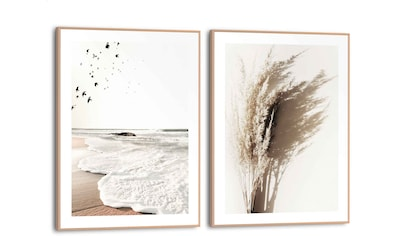 Reinders! Wandbild »Sommerstrand Rollende Wellen - Gras - Vögel - Natur - Mer«, (2 St.) kaufen